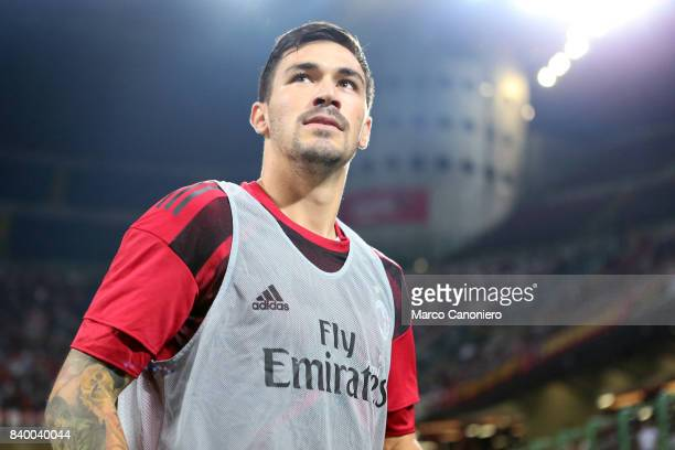 Alessio Romagnoli of Ac Milan looks on before the Serie A football match between AC Milan and Cagliari Calcio Ac Milan wins 21 over Cagliari Calcio