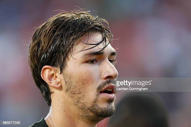 Alessio Romagnoli of AC Milan looks on during the International Champions Cup match against Liverpool FC at Levi's Stadium on July 30 2016 in Santa...