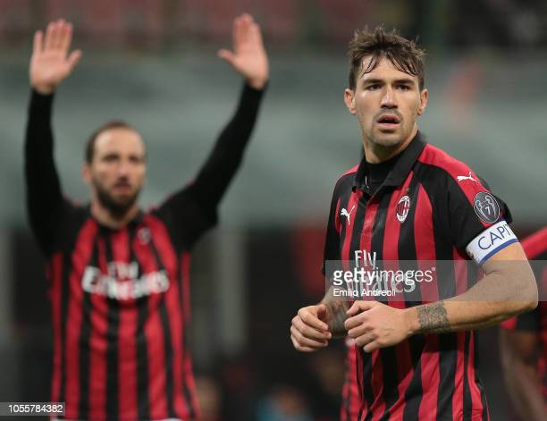 Alessio Romagnoli of AC Milan looks on during the serie A match between AC Milan and Genoa CFC at Stadio Giuseppe Meazza on October 31 2018 in Milan...