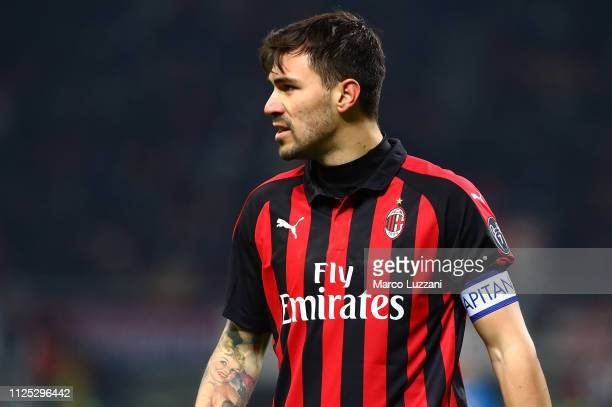 Alessio Romagnoli of AC Milan looks on during the Serie A match between AC Milan and SSC Napoli at Stadio Giuseppe Meazza on January 26 2019 in Milan...