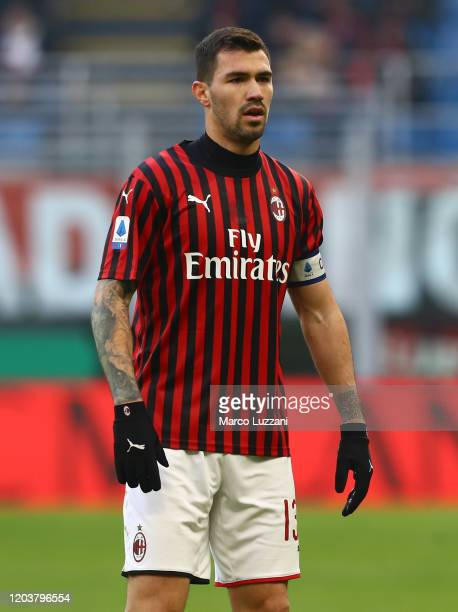 Alessio Romagnoli of AC Milan looks on during the Serie A match between AC Milan and Hellas Verona at Stadio Giuseppe Meazza on February 2 2020 in...