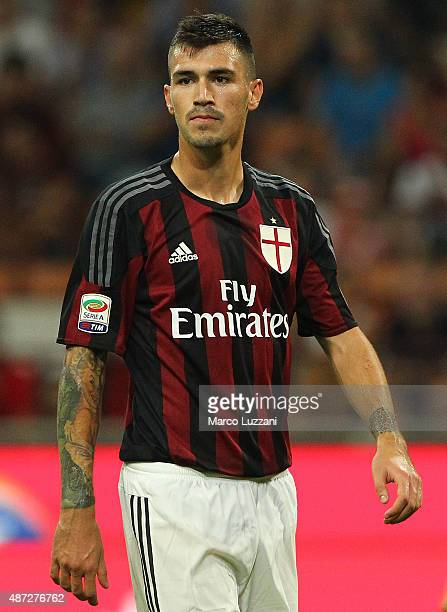 Alessio Romagnoli of AC Milan looks on during the Serie A match between AC Milan and Empoli FC at Stadio Giuseppe Meazza on August 29 2015 in Milan...