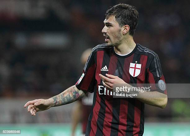 Alessio Romagnoli of AC Milan looks on during the Serie A match between AC Milan and Carpi FC at Stadio Giuseppe Meazza on April 21 2016 in Milan...