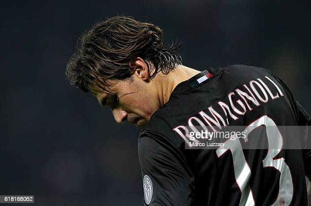 Alessio Romagnoli of AC Milan looks on during the Serie A match between AC Milan and Juventus FC at Stadio Giuseppe Meazza on October 22 2016 in...