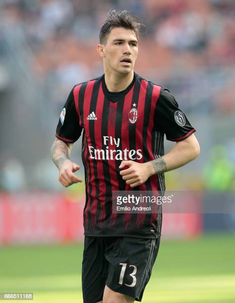 Alessio Romagnoli of AC Milan looks on during the Serie A match between AC Milan and US Citta di Palermo at Stadio Giuseppe Meazza on April 9 2017 in...