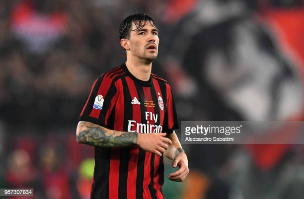 Alessio Romagnoli of AC Milan looks on during the TIM Cup Final between Juventus and AC Milan at Stadio Olimpico on May 9 2018 in Rome Italy