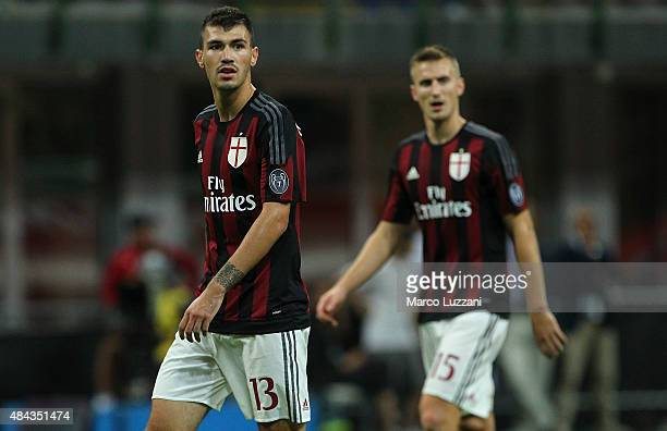 Alessio Romagnoli of AC Milan looks on during the TIM Cup match between AC Milan and AC Perugia at Stadio Giuseppe Meazza on August 17 2015 in Milan...