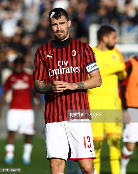 Alessio Romagnoli of AC Milan reacts after losing the Serie A match between Atalanta BC and AC Milan at Gewiss Stadium on December 22 2019 in Bergamo...