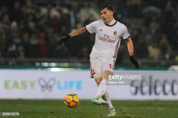 Alessio Romagnoli of AC Milan scores a penalty during the TIM Cup match between SS Lazio and AC Milan at Olimpico Stadium on February 28 2018 in Rome...