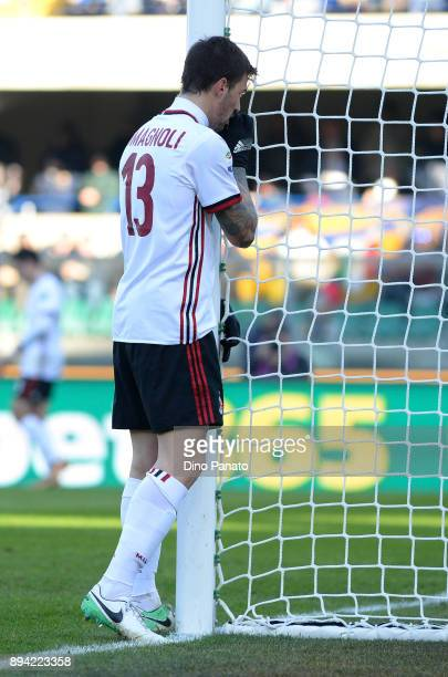 Alessio Romagnoli of AC Milan shows his dejection during the Serie A match between Hellas Verona FC and AC Milan at Stadio Marc'Antonio Bentegodi on...