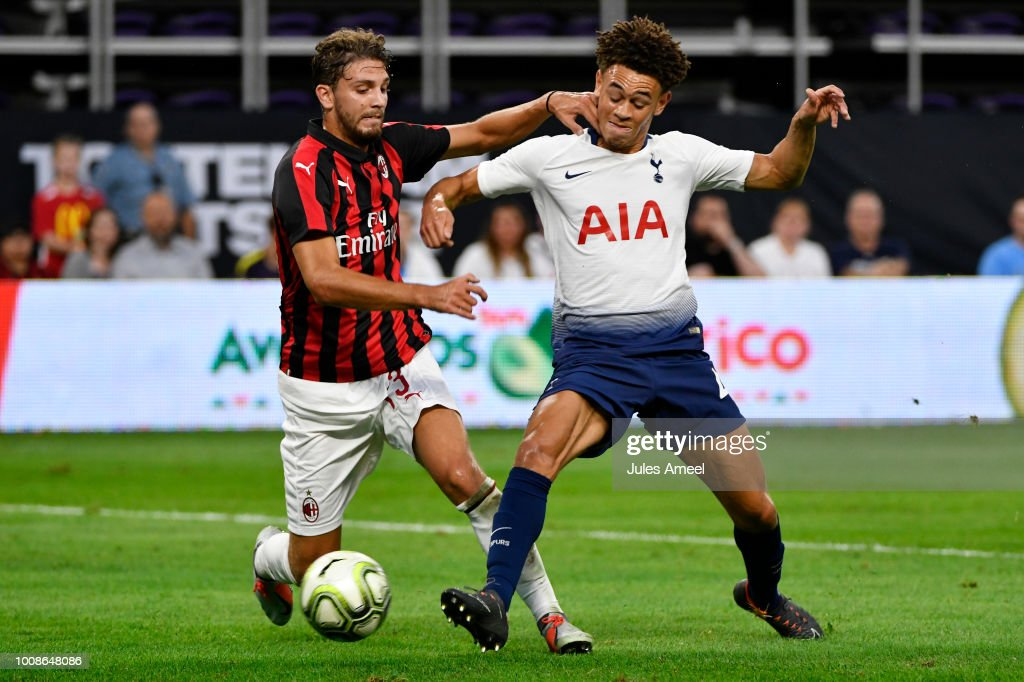 Alessio Romagnoli #13 of AC Milan vies for the ball against Luke Amos #40 of the Tottenham Hotspur during the first half of the International Champions Cup 2018 match at U.S. Bank Stadium on July 31, 2018 in Minneapolis, Minnesota.