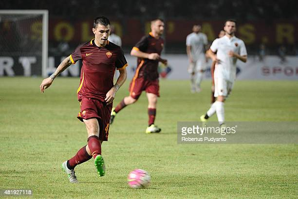 Alessio Romagnoli of AS Roma kicks the ball during the international friendly match between AS Roma A and AS Roma B at Gelora Bung Karno Stadium on...
