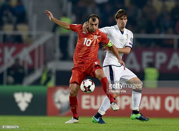 Alessio Romagnoli of Italy and Goran Pandev of FYR Macedonia compete for the ball during the FIFA 2018 World Cup Qualifier between FYR Macedonia and...