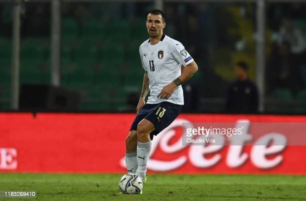 Alessio Romagnoli of Italy celebrates in action during the UEFA Euro 2020 Qualifier between Italy and Armenia on November 18 2019 in Palermo Italy