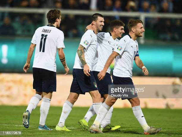 Alessio Romagnoli of Italy celebrates with team-mates after scoring the goal during the UEFA Euro 2020 Qualifier between Italy and Armenia on...