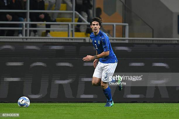 Alessio Romagnoli of Italy in action during the International Friendly Match between Italy and Germany at Giuseppe Meazza Stadium on November 15 2016...
