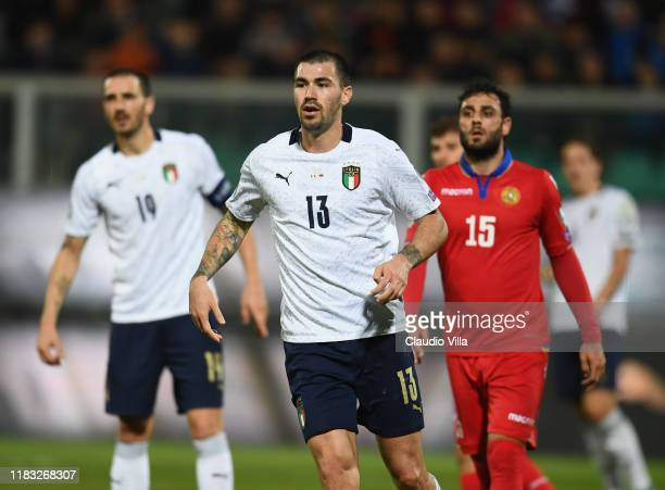 Alessio Romagnoli of Italy in action during the UEFA Euro 2020 Qualifier between Italy and Armenia on November 18 2019 in Palermo Italy
