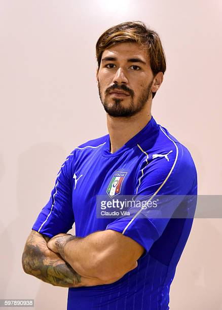 Alessio Romagnoli of Italy poses during the official portrait session prior to the training session at the club's training ground at Coverciano on...