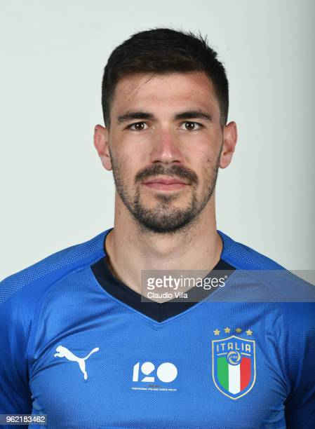Alessio Romagnoli of Italy poses during the official portrait session at Centro Tecnico Federale di Coverciano on May 24 2018 in Florence Italy