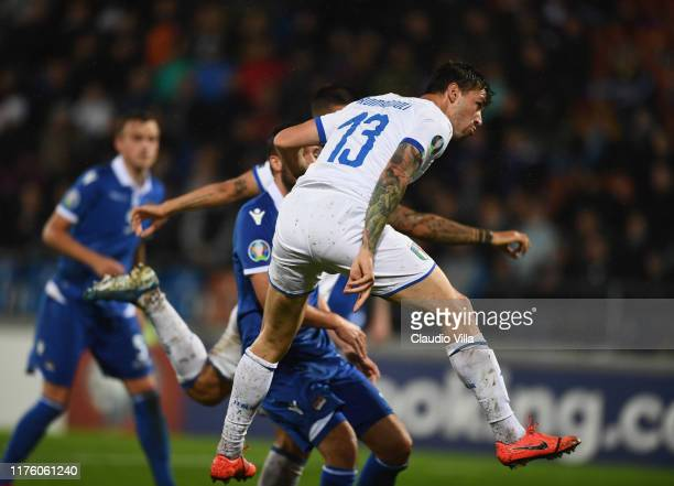 Alessio Romagnoli of Italy scores the third goal during the UEFA Euro 2020 qualifier between Liechtenstein and Italy on October 15, 2019 in Vaduz,...