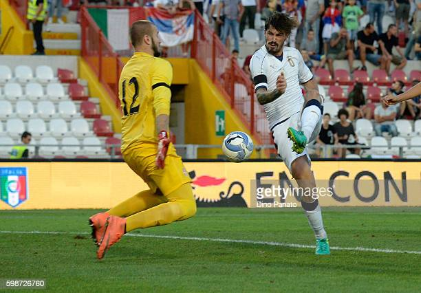 Alessio Romagnoli of Italy U21 competes during the UEFA European U21 Championships Qualifier between Italy U21 and Serbia U21 at Stadio Romeo Menti...
