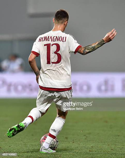 Alessio Romagnoli of Milan in action during the TIM preseason tournament match between AC Milan and US Sassuolo Calcio at Mapei Stadium Città del...