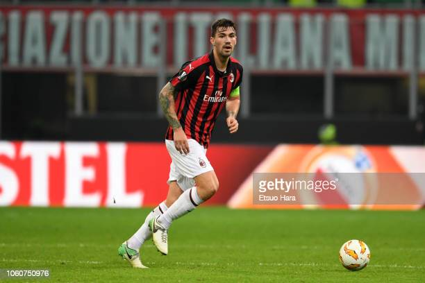 Alessio Romagnoli of Milan in action during the UEFA Europa League Group F match between AC Milan and Real Betis at Stadio Giuseppe Meazza on October...