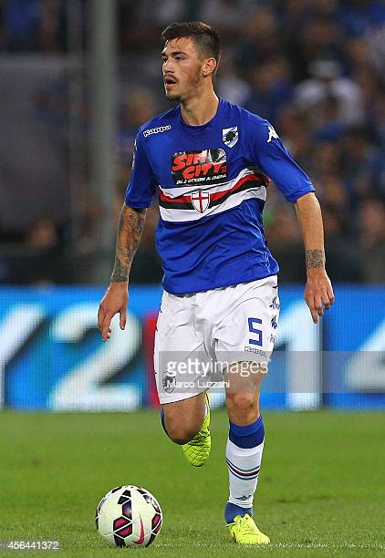 Alessio Romagnoli of UC Sampdoria in action during the Serie A match between Genoa CFC and UC Sampdoria at Stadio Luigi Ferraris on September 28 2014...