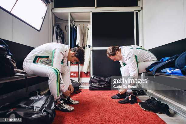 Alessio Rovera and Alexander Moiseev Chief Business Officer at Kaspersky Lab prepare before the Italian GT Endurance Championship race in Monza...