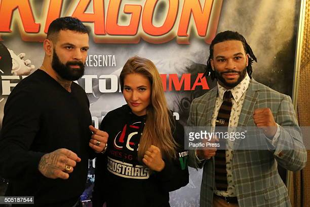 Alessio Sakara Anastasia Yankova and Brian Rogers poses for the camera Oktagon Kickboxing President Carlo Di Blasi was joined in Turin this afternoon...