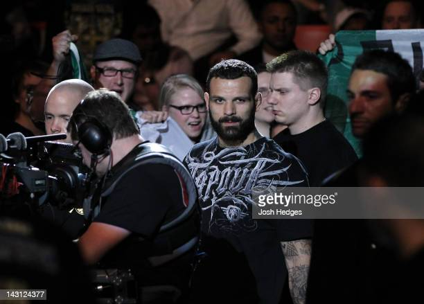 Alessio Sakara of Italy enters the arena before his bout against Brian Stann at the UFC on Fuel TV event at Ericsson Globe on April 14 2012 in...