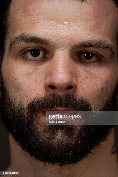 Alessio Sakara poses for a portrait backstage after defeating James Irvin at the UFC Live on Versus event on March 21 2010 in Broomfield Colorado