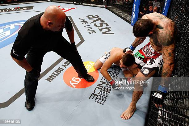 Alessio Sakara punches Patrick Cote in the back of the head during their middleweight bout during UFC 154 on November 17 2012 at the Bell Centre in...