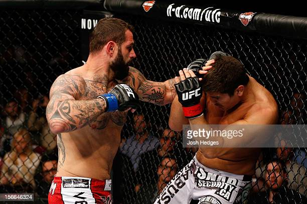 Alessio Sakara throws a punch against Patrick Cote during their middleweight bout during UFC 154 on November 17 2012 at the Bell Centre in Montreal...