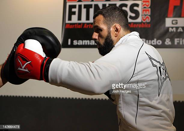Alessio Sakara works out for the media during the UFC open workouts at Pancrase Gym on April 11 2012 in Stockholm Sweden