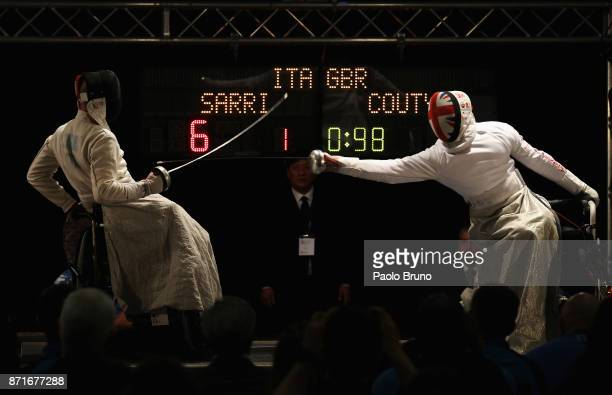 Alessio Sarri of Italy and Dimitri Coutya of Great Britain compete in the Final Men's Epee fencing rounds during the IWAS Wheelchair Fencing World...