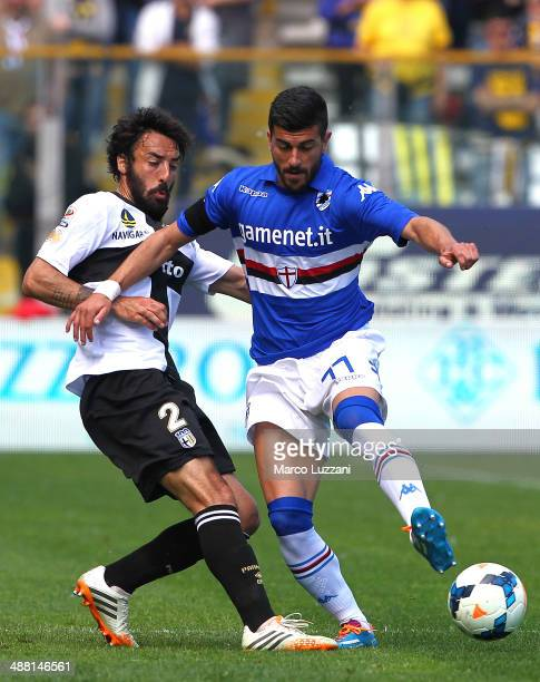 Alessio Sestu of UC Sampdoria competes for the ball with Mattia Cassani of Parma FC during the Serie A match between Parma FC and UC Sampdoria at...