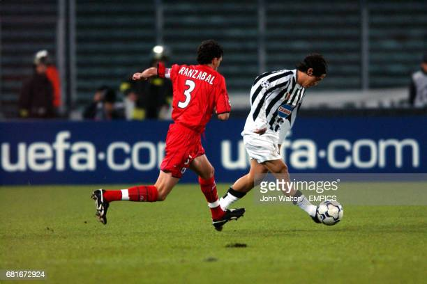 Alessio Tacchinardi Juventus clears the ball from Real Sociedad's Agustin Aranzabal