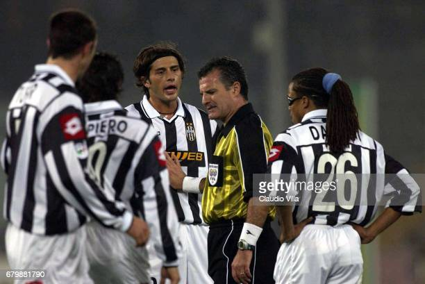 Alessio Tacchinardi of Juventus complaining with the referee Piero Braschi during the SERIE A 9th Round League match between Juventus and Inter...