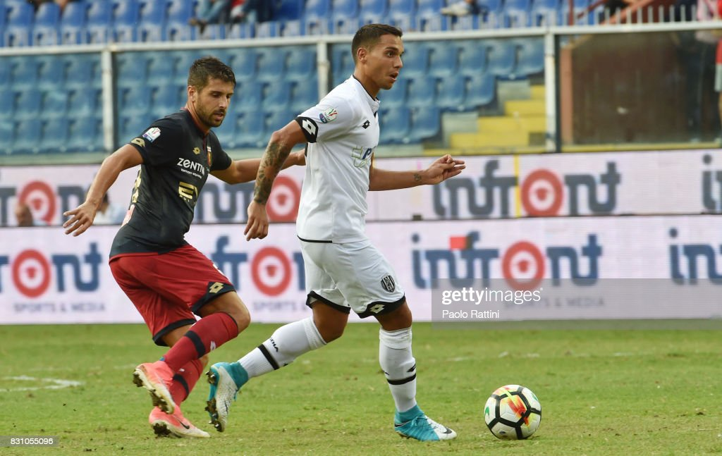 Alessio Vita (Cesena) and Miguel Veloso (Genoa) during the TIM Cup match between Genoa CFC and AC Cesena at Stadio Luigi Ferraris on August 13, 2017 in Genoa, Italy.