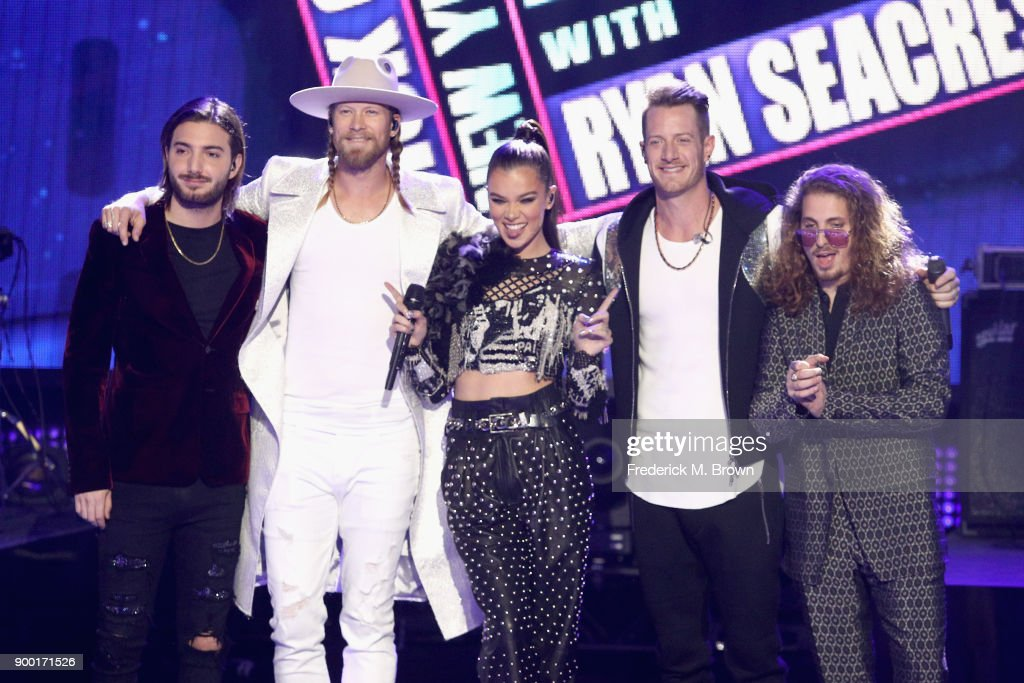 Alesso, Brian Kelley of Florida Georgia Line, Hailee Steinfeld, Tyler Hubbard of Florida Georgia Line and watt perform onstage during Dick Clark's New Year's Rockin' Eve with Ryan Seacrest 2018 on December 31, 2017 in Los Angeles, California.