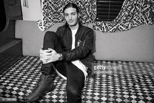 DJ Alesso poses backstage during the Coachella Valley Music and Arts Festival at The Empire Polo Club on April 17 2015 in Indio California