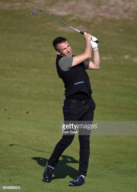 Alesssandro Del Piero in action during The Abu Dhabi Invitational at Yas Links Golf Course on January 13 2018 in Abu Dhabi United Arab Emirates