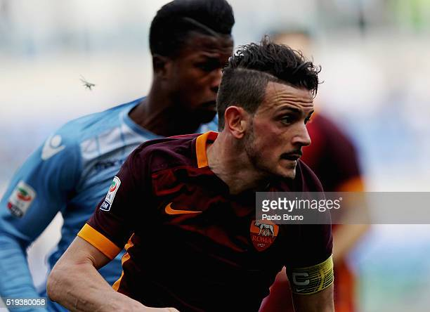 Alesssandro Florenzi of AS Roma in action during the Serie A match between SS Lazio and AS Roma at Stadio Olimpico on April 3 2016 in Rome Italy