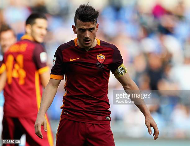 Alesssandro Florenzi of AS Roma looks on during the Serie A match between SS Lazio and AS Roma at Stadio Olimpico on April 3 2016 in Rome Italy