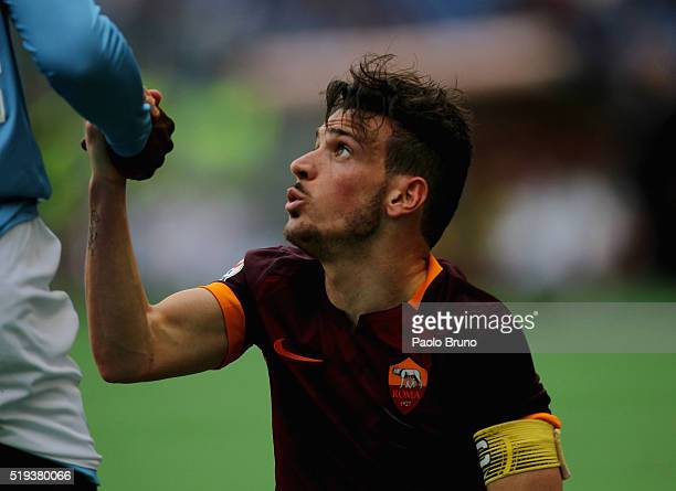 Alesssandro Florenzi of AS Roma reacts during the Serie A match between SS Lazio and AS Roma at Stadio Olimpico on April 3 2016 in Rome Italy