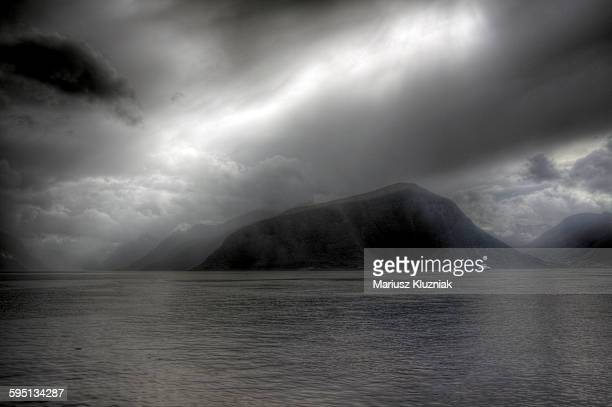 Alesund fjords and Sunmore Alps stormy weather