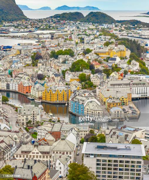 alesund, norway, beautiful european city, aerial view. - art nouveau stock pictures, royalty-free photos & images