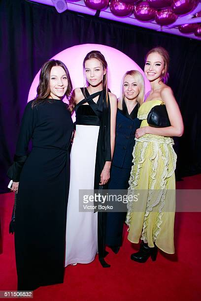 Alesya Kafelnikova Yana Rudkovskaya Sasha Luss attends 'The London Fabulous Fund Fair' at Old Billingsgate Market on February 20 2016 in London...