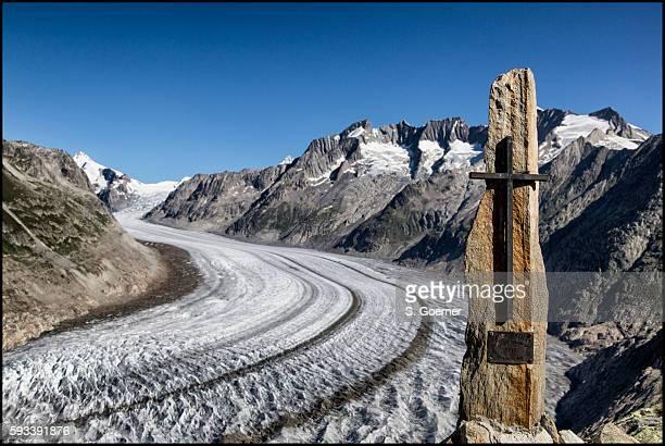 aletsch glacier, valais, switzerland - unesco stock-fotos und bilder